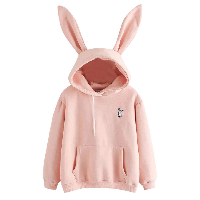 Snowfoller Rabbit Ears Decor Hoodie,Women Cute Rabbit Printed Hooded Sweatshirt Casual Long Sleeve Pullover Tops with Pocket