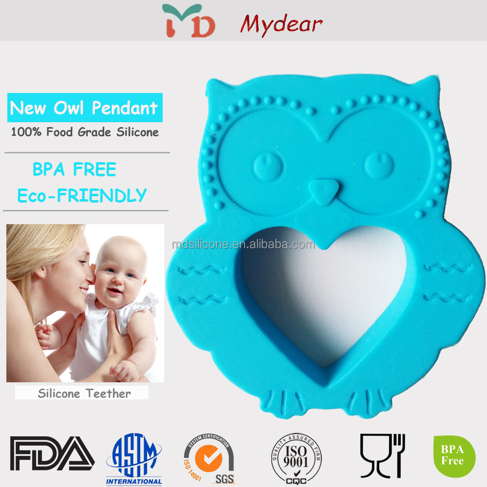 2015 Hot Sale Portable Kids Silicone Teether Toy / Soft Baby Teething Pendant / Best Gift for Kids and Baby