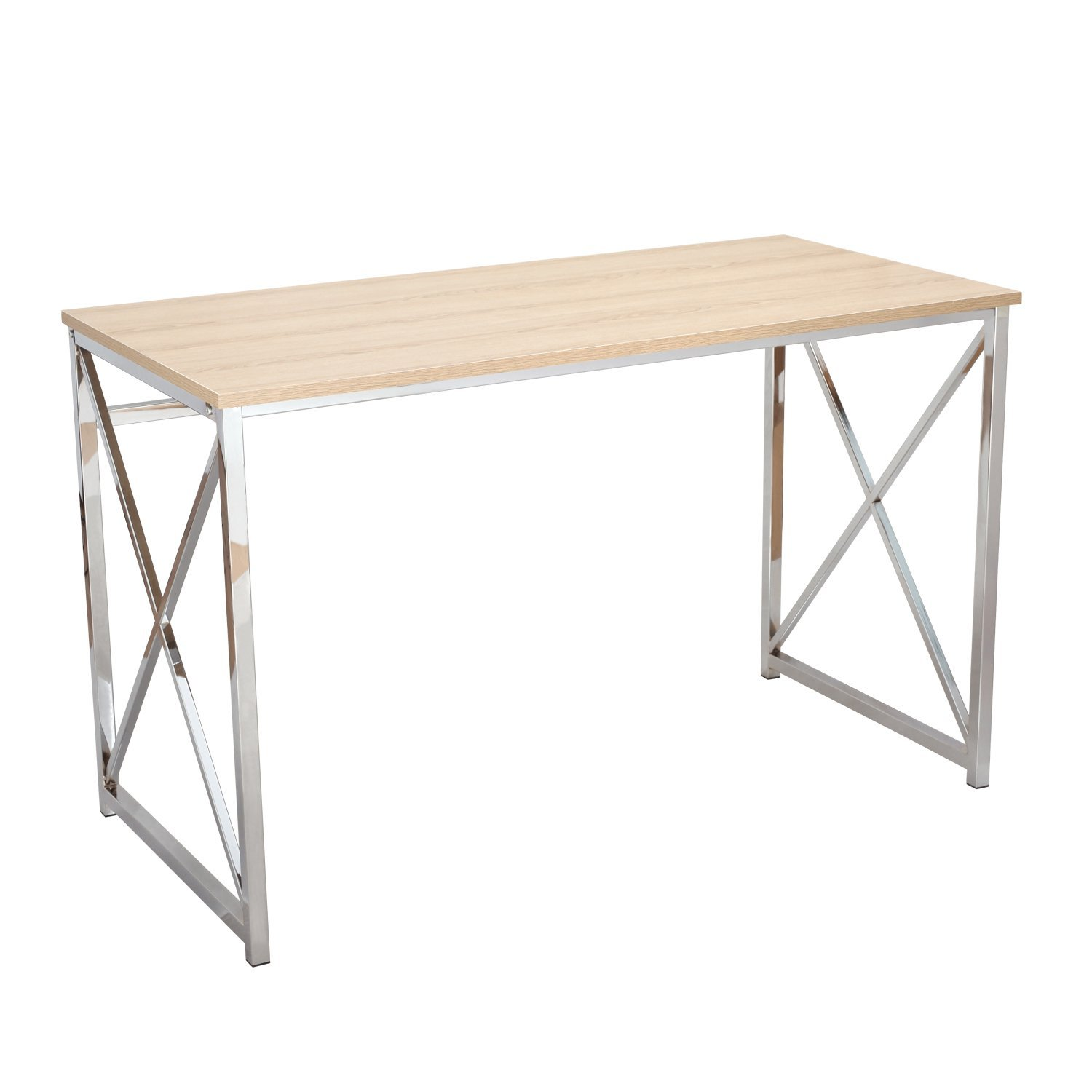 """Homebeez Computer/Office/Home Desk 48""""x24"""" with Wooden Style Top Chrome Metal Legs Studying Writing Table"""