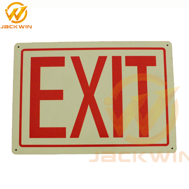 Glow In the Dark Aluminum Board Exit Warning Safety Signs for Sale