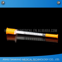 retractable safety disposable insulin syringe 1ml 0.5ml with fix and removable needle