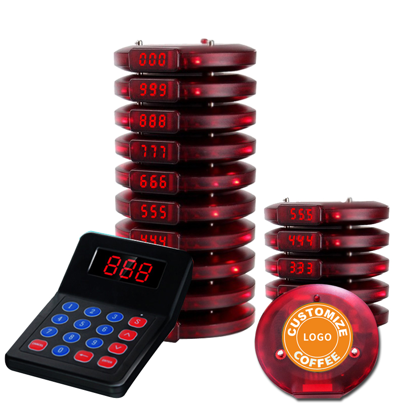 Draadloze coaster pager oproepsysteem voor fast food restaurant cafe queue management catering