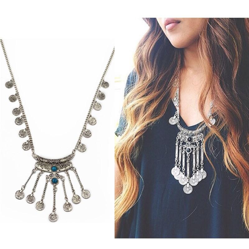 Silver Necklace Long Chain Pendant Necklace Vintage Jewelry Statement Piece