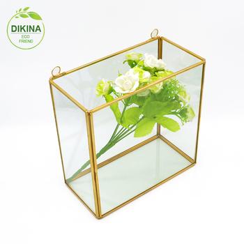 Vintage Wall Hanging Brass Glass Geometric Terrarium Box Buy Glass