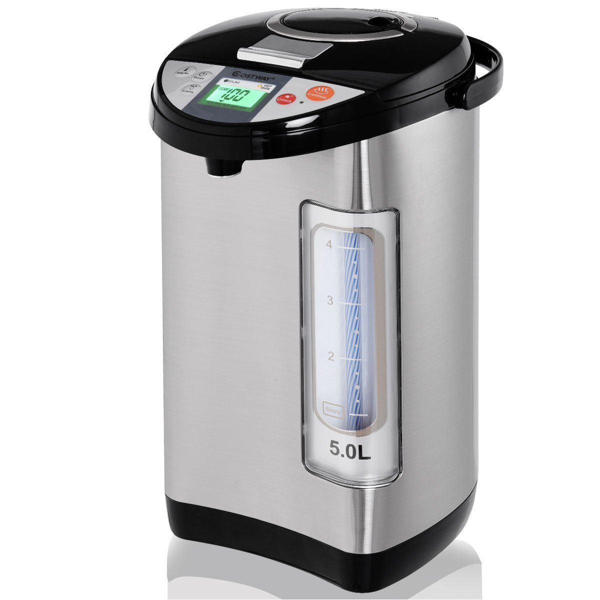 Costway Instant Electric Hot Water Pot, Safety Lock to Prevent Spillage, 5-Liter LCD Water Boiler and Warmer, stainless steel Electric Kettle Hot Water Dispenser