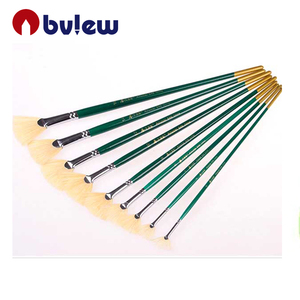 Long Handle Artist Fan Paint Brush Set for Oil Acrylic Painting