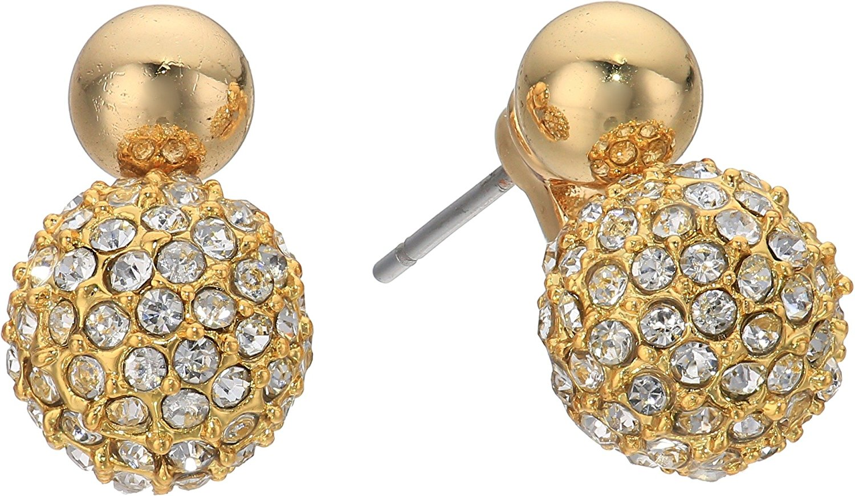 Rebecca Minkoff Womens Mini Double Sphere Pave Stud Earrings