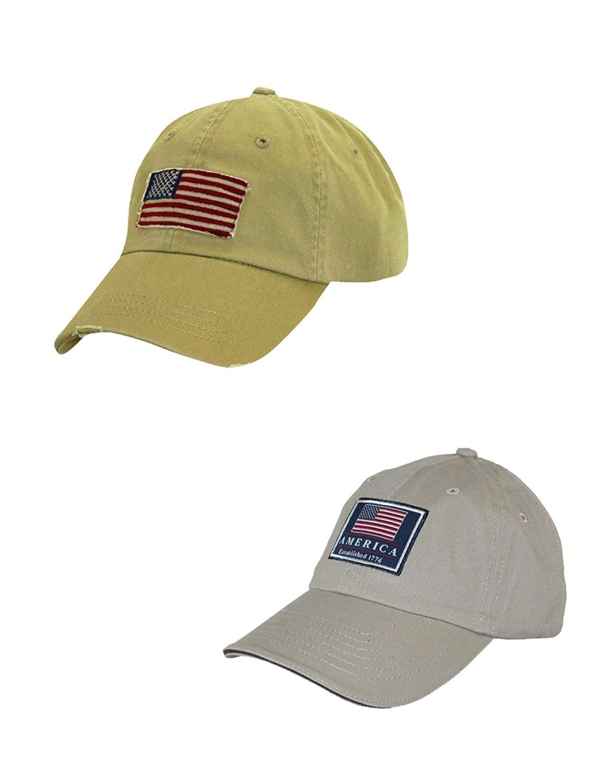 Get Quotations · Dorfman Pacific Cotton Classic American Flag Baseball Caps  (Pack of 2) 1b585e0acf5