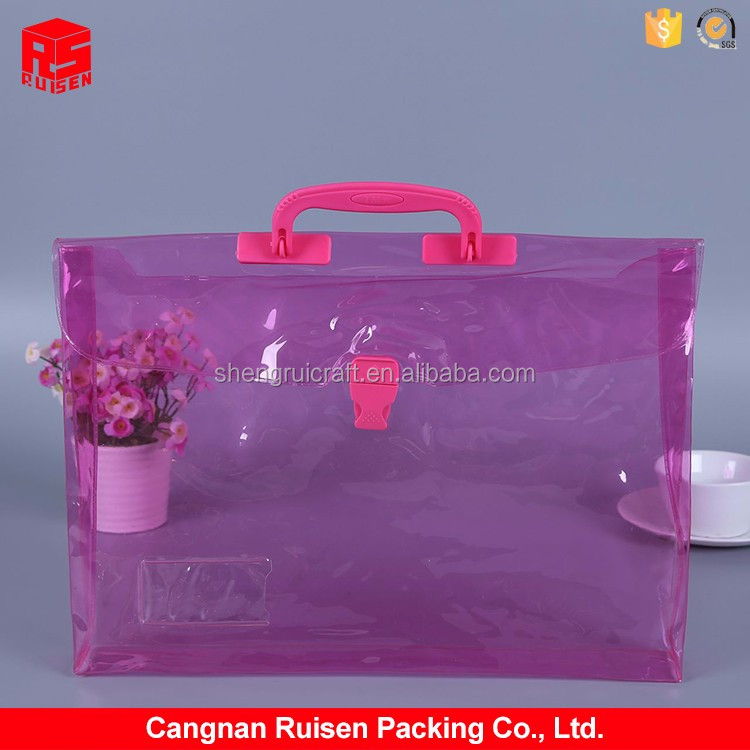 Modern style portable pink button transparent plastic PVC document bag