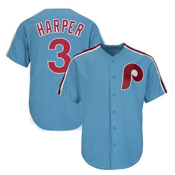 2019 New high quality breathable #3 Bryce Harper Custom baseball Jersey