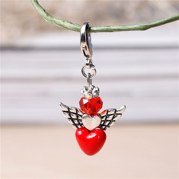 Red Guardian Angel Wing Clip On Charm Pendant, With Acrylic & Glass Beads, Brass Rhinestone Beads And Lobster Clasps