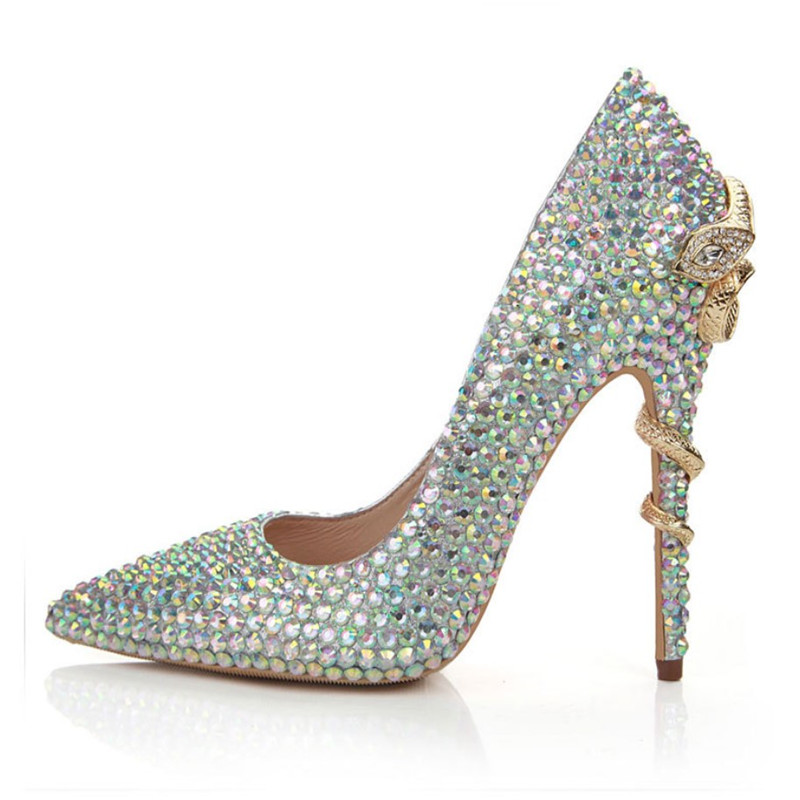New arrival fashion show luxury elegant wedding sexy bling pointed toe crystal rhinestone covered stiletto crystal high <strong>heels</strong>
