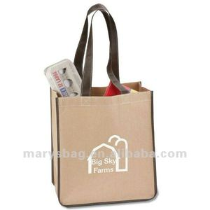 Natural Kraft Paper Sack Tote with Non Woven Liner and Contrast Trim