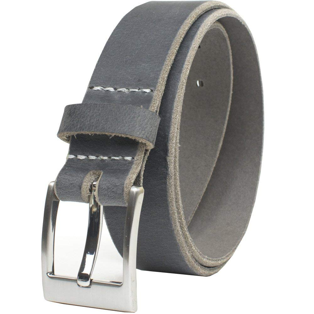 32e5442049b8d Get Quotations · Square Wide Pin Distressed Leather Belt - Nickel Smart -  Gray Full Grain Leather Belt with