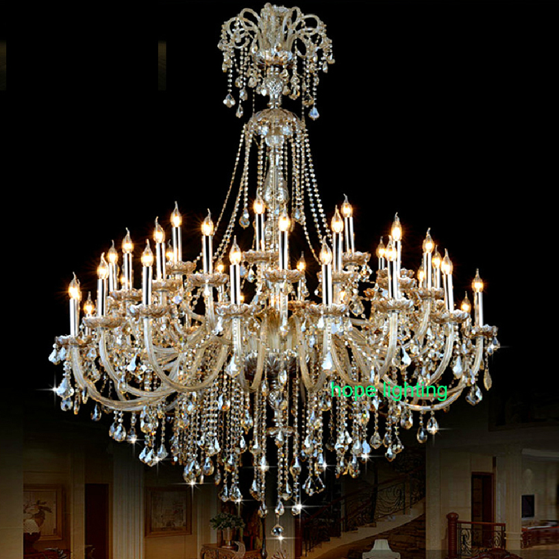 Big Hall Lamp Chandeliers Luxury Champagne Crystal