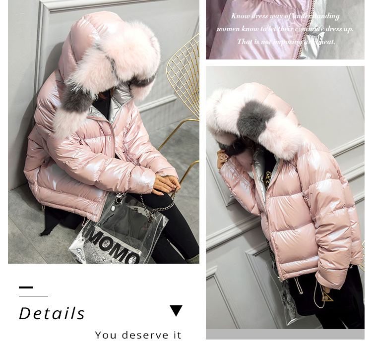 Double Faced Wearing Reversible Fur Down Coat Fashion Women Comfy Shiny Fox Fur Collar Padded Coat