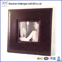 customized design square leather picture/photo frame design chinese factory supply