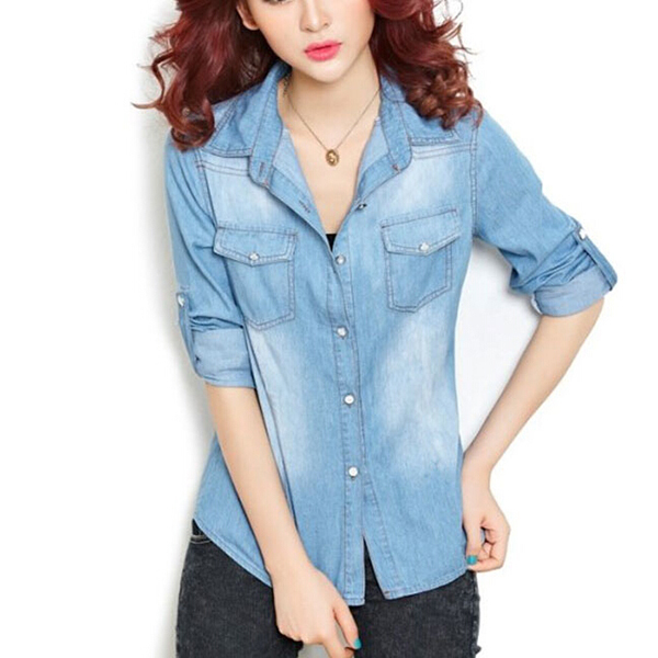 282160092df Get Quotations · Casual Turn-down Collar Full length Camisa Jeans Feminina  Korean Women Denim Shirt Pockets Lady