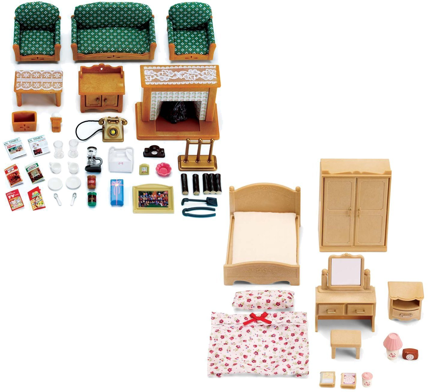 Buy Calico Critters Deluxe Living Room Set and Parent\'s Bedroom Set ...