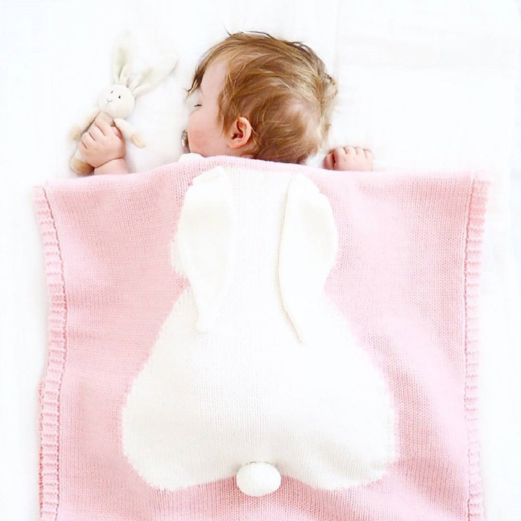 Super Soft Chunky Knit 담요 된 벤치와 담요 Baby Products 니트 Cute Rabbit Baby 담요