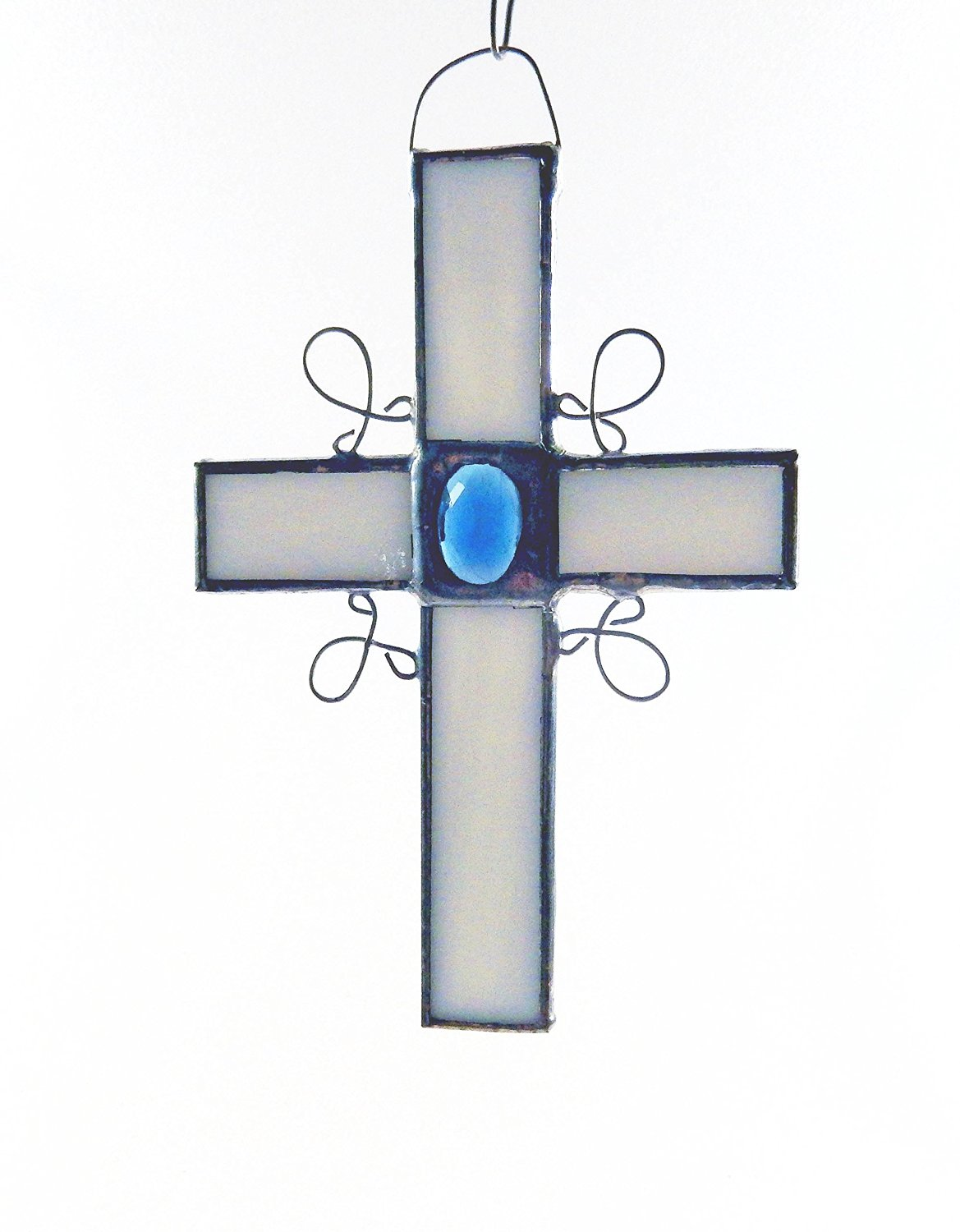 White Stained Glass Cross with choice of vintage glass jewels in blue, red/pink, green, yellow/amber