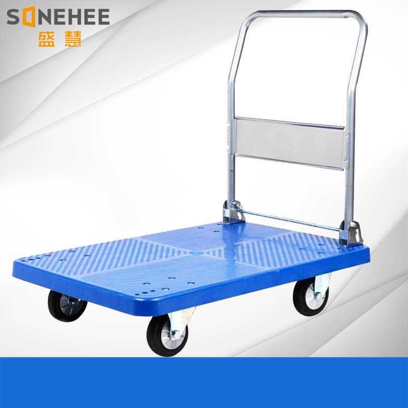 China factory four wheels warehouse foldable plastic Platform handtruck