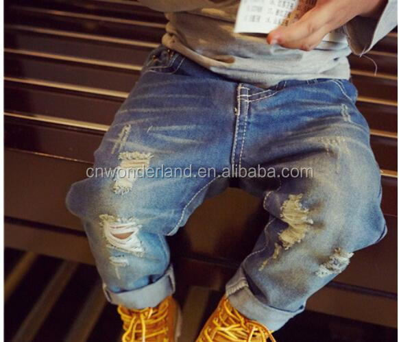 children rock wear jeans denim pants damaged jeans kids destroyed biker jeans