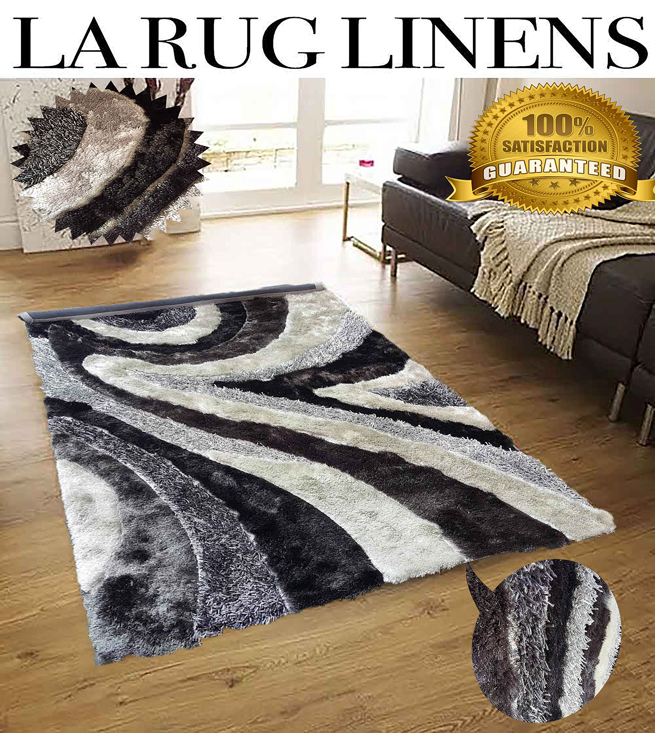 Buy La Rug Linens Dark Gray Light Gray Taupe Silver 8x10 Elegant