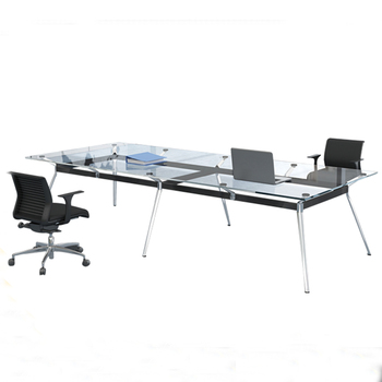 Executive Glass Top Conference Table Steel Table Legs Glass Conference Table