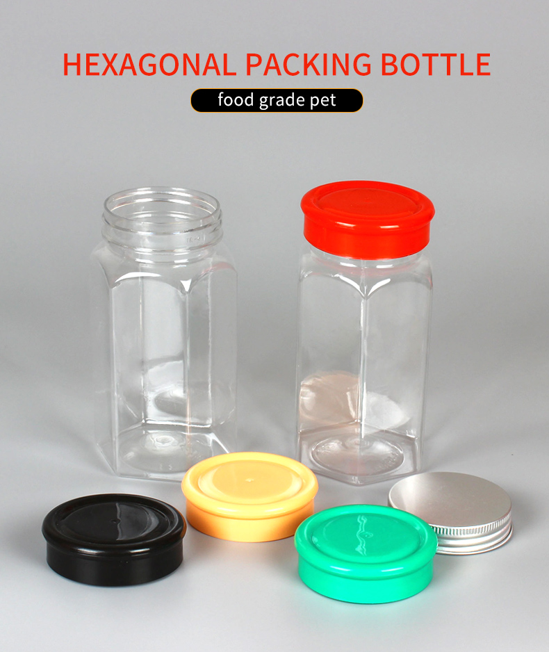 Food Storage Jar 360ml disposable empty Hexagonal Biodegradable PLA Container ,Serving Tea, Coffee, Spice and More