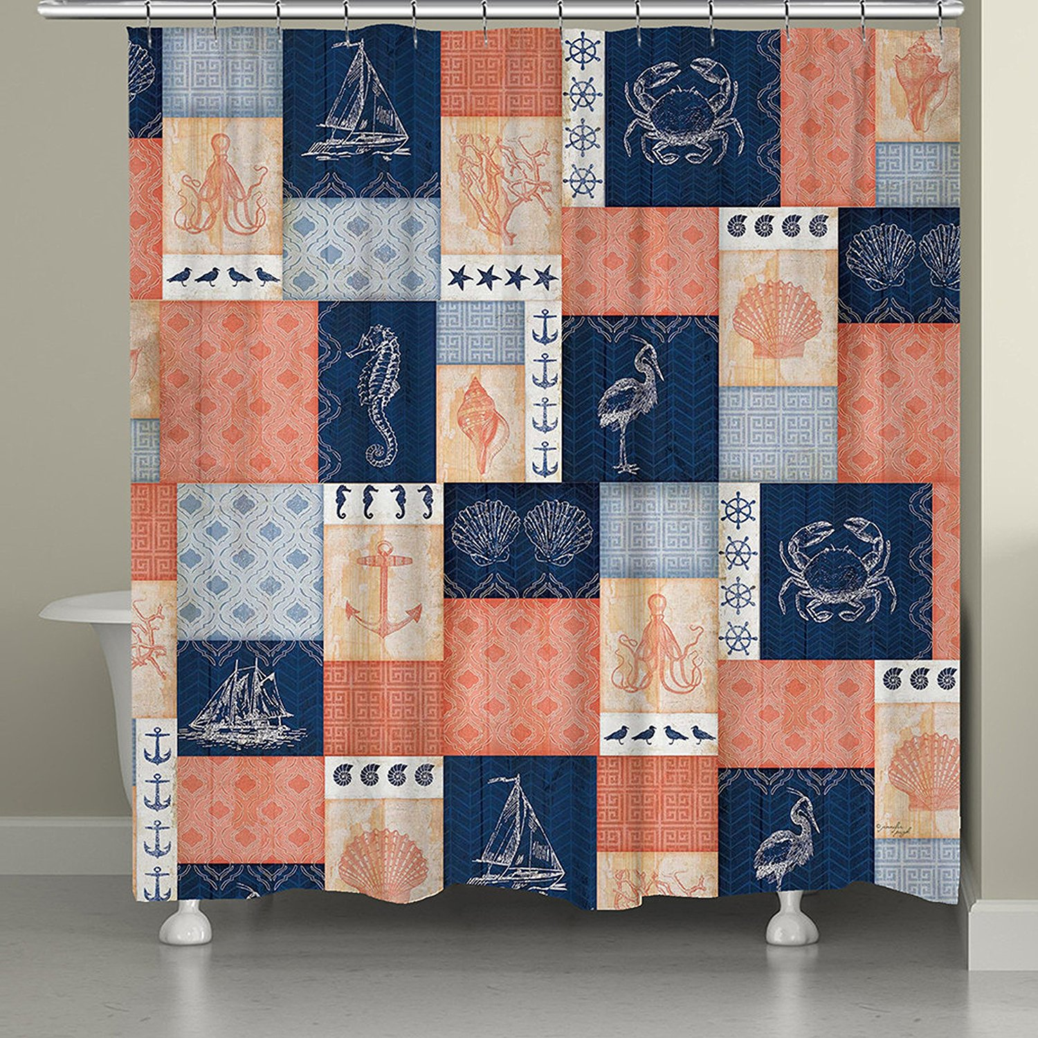 Get Quotations Laural Home Coral And Navy Coastal Shower Curtain 71x74 Patchwork Blue