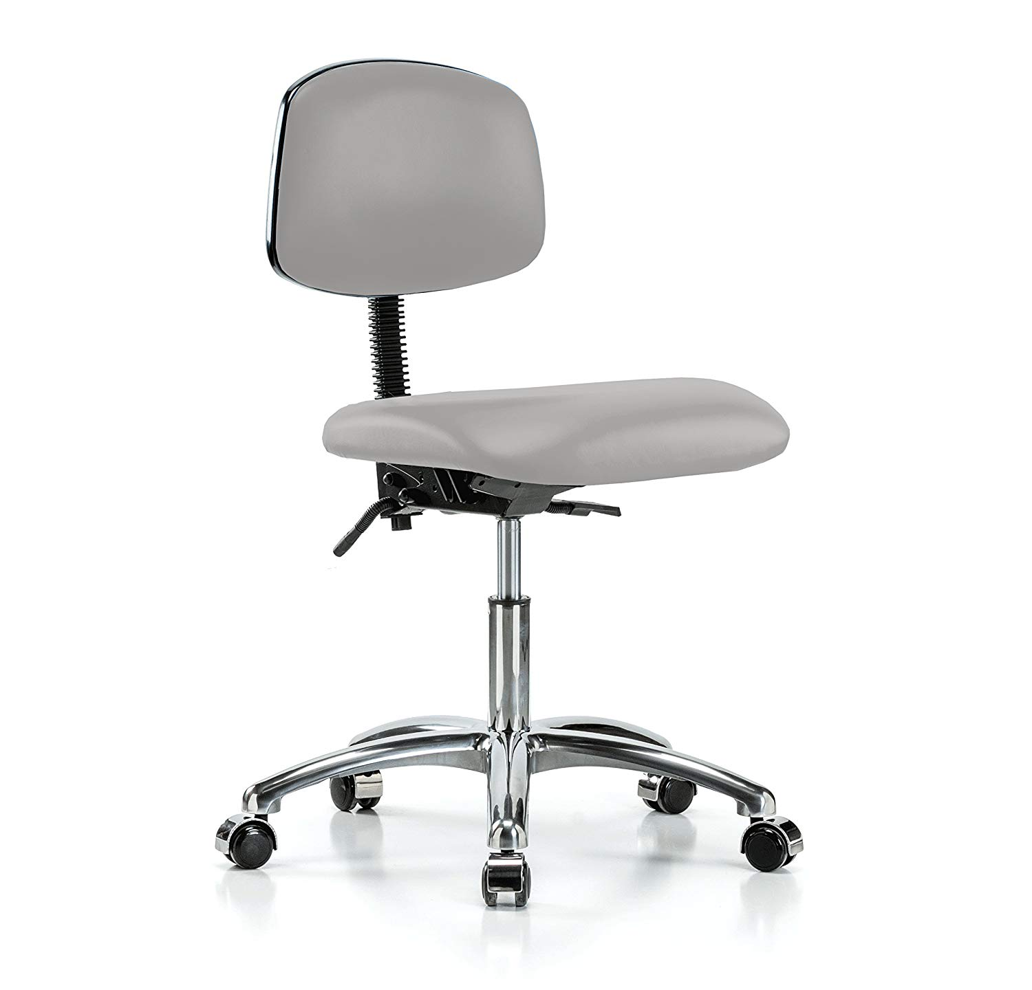 Perch Chrome Rolling Lab Chair with Adjustable Back Support for Hardwood or Tile Floors, Desk Height, Grey Vinyl