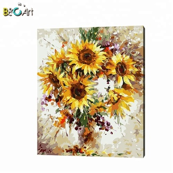 Abstract Sunflower Designs Handmade Canvas Oil Painting by Numbers