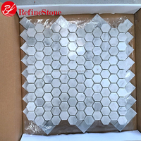 White marble stone mosaic,white marble floor water jet mosaic tile