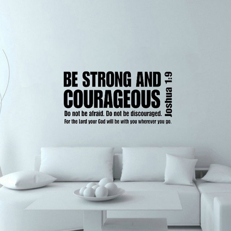 Be Strong And Courageous Inspiring Wall Decal Text Quote Vinyl Art