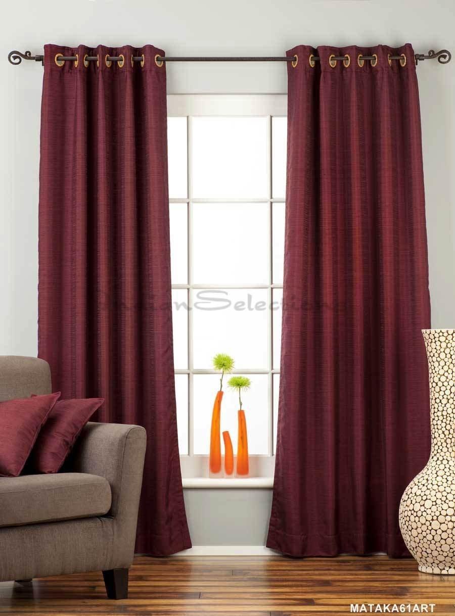 Dark Maroon Ring Top Matka Raw Silk Curtain / Drape - 43W x 84L - Piece