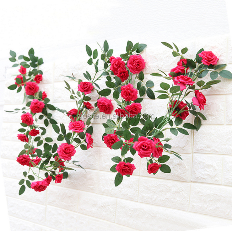 Hot Sale Artificial Flower Vine Fabric Faux Silk Ivy Home House Garden Decoration Fake Rose Flower Vine Buy Rose Flower Vine Artificial Rose