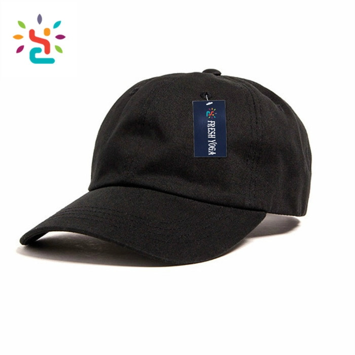 Promotionele dad zwart 6 panel hoeden 100% katoen baseball caps custom plain baseball hoed Mode jeugd sport vader hoed