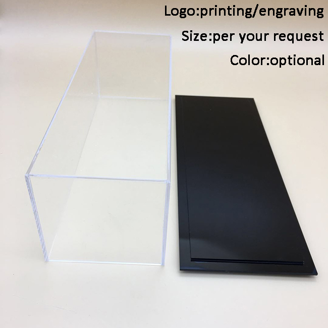 Grote helder acryl display box display met gemakkelijk moving black base