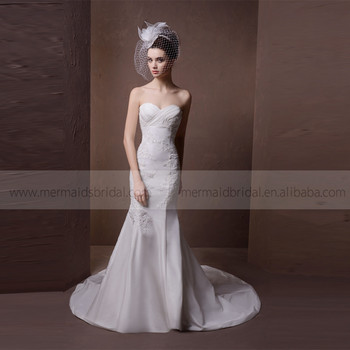 Beautiful Pleated Heart Line Mermaid Lace And Beads Satin Wedding Dress