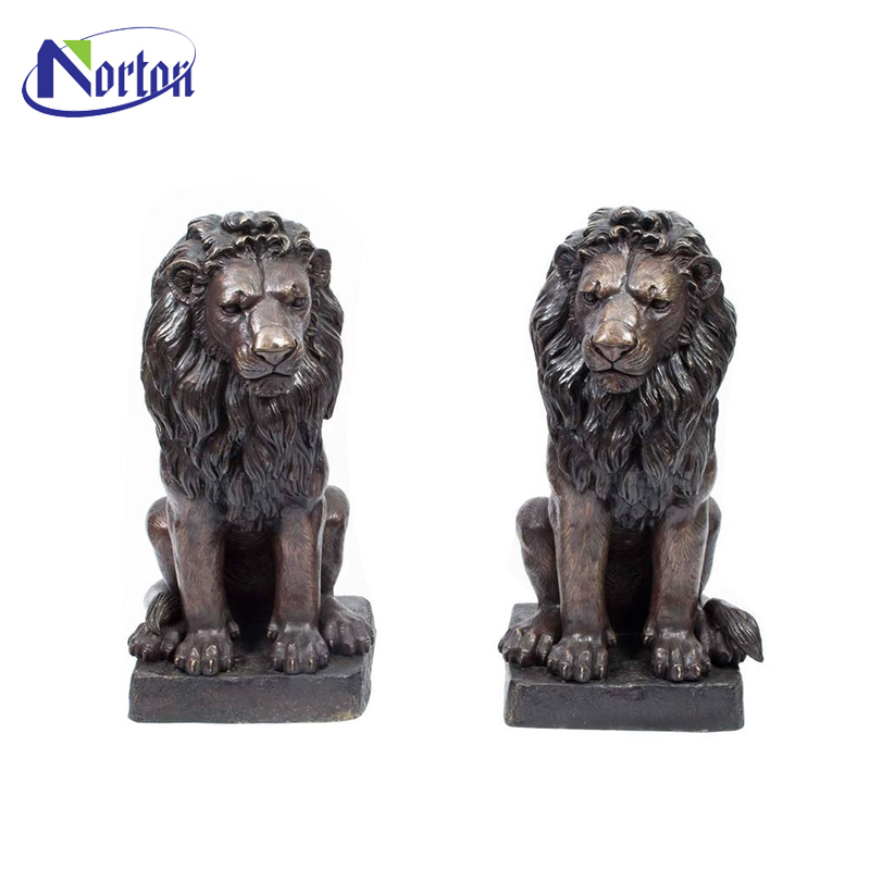 Antique designed garden outdoor decor life size sitting a pair of bronze lions statue for sale NT-00130RI