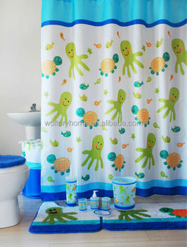 Hot Sale Sea World Matching Shower Curtain And Accessories Bathroom Set