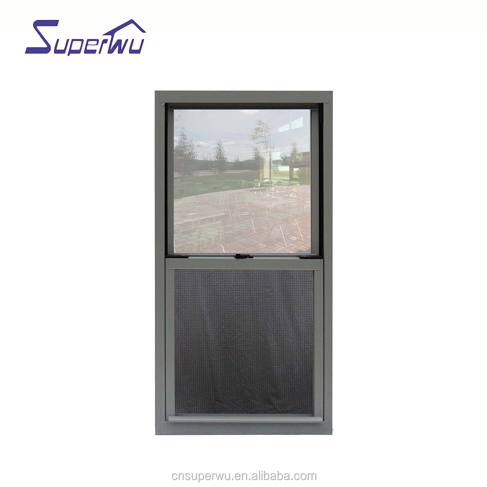 Aluminum single hung windows double glazed dust proof window with flyscreen