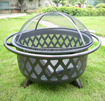 Portable Outdoor Wood Burning Fire Pit With And Mesh Screen Chimney Iron Indoor Product