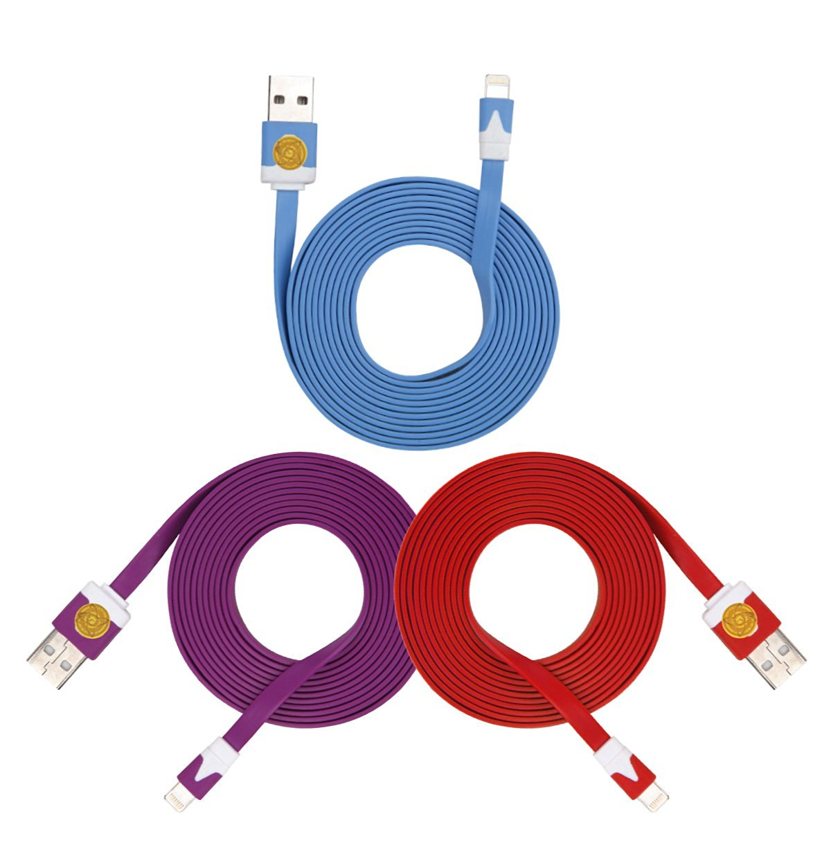 2M Heavy Duty Flat Noodle Lightning USB Cable for Apple iPhone 6,6S -Ple Blu Red