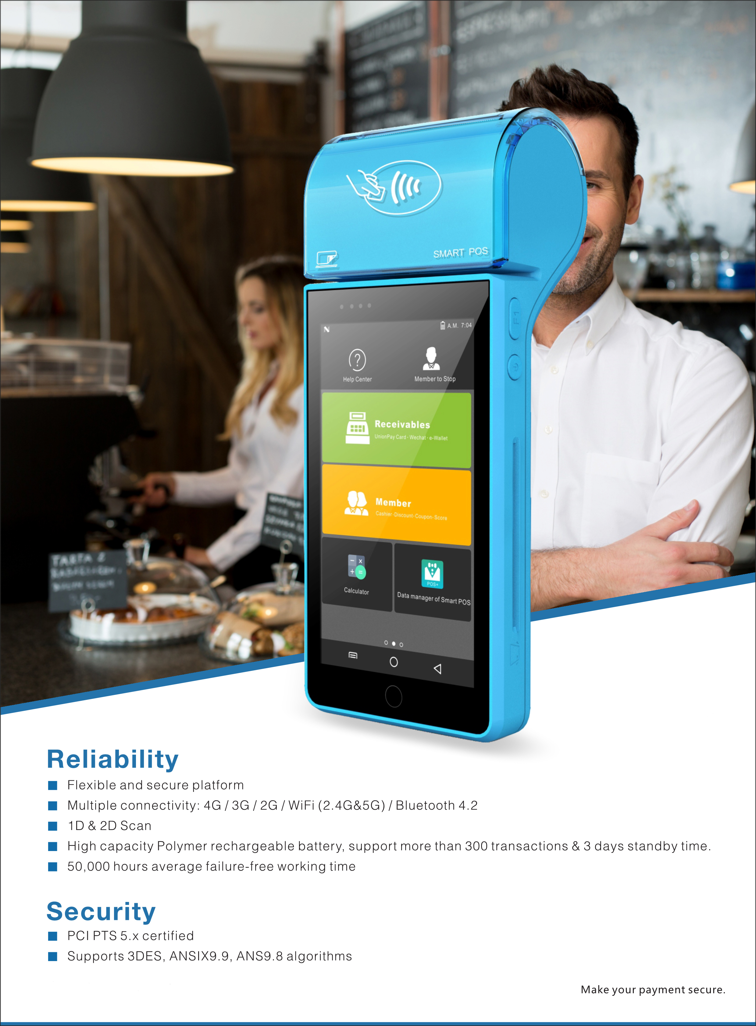 All in one slim smart handheld android pos terminal with printer and card readers