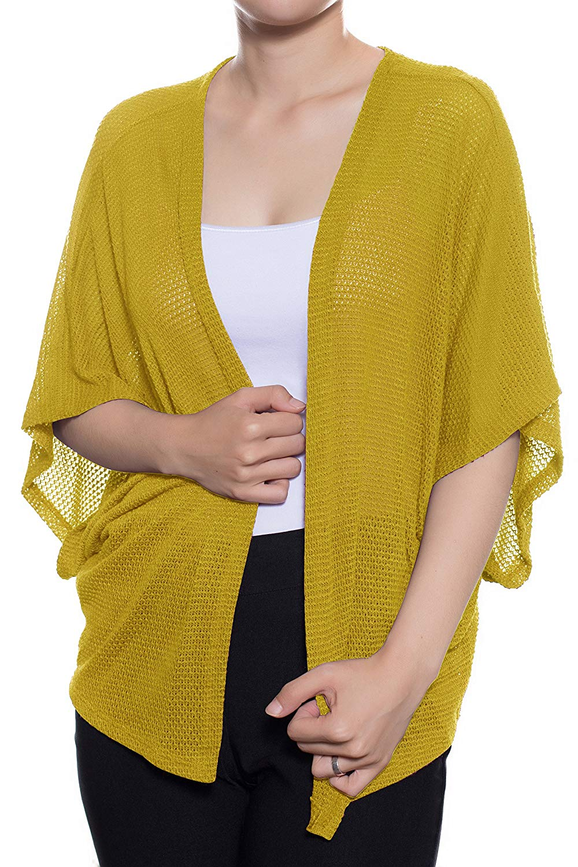 71613fdfee Get Quotations · Women s Casual Dolman Short Sleeves Loose Knit Kimono  Cardigan ...