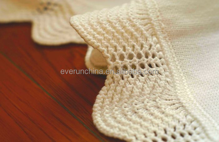 50db76 100cotton Plain Knit Baby Blanket With Handmade Crochet Edge