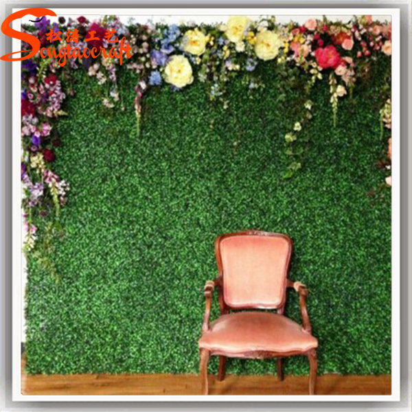 Stylized Plastic Artificial Grass Wall Artistic Romantic