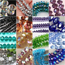 China TOP Manufacturer Faceted Rondelle crystal jewelry glass gemstone beads